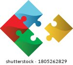 puzzles grid template. jigsaw...   Shutterstock .eps vector #1805262829