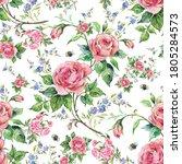 seamless pattern lovely roses... | Shutterstock . vector #1805284573