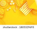 summer background with umbrella ... | Shutterstock .eps vector #1805329693
