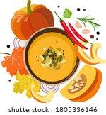 a bowl of pumpkin soup... | Shutterstock .eps vector #1805336146