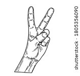 peace hand sketch. sign of...   Shutterstock .eps vector #1805356090