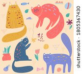 set of color cute cats on light ... | Shutterstock .eps vector #1805367430