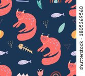 seamless pattern with cute cat... | Shutterstock .eps vector #1805369560