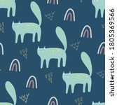 seamless pattern with cute cat... | Shutterstock .eps vector #1805369566