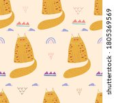 seamless pattern with cute cat... | Shutterstock .eps vector #1805369569