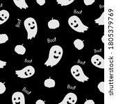 white creepy and fun ghosts... | Shutterstock .eps vector #1805379769