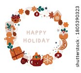 merry christmas and a happy new ... | Shutterstock .eps vector #1805390323