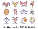 collection of zodiac signs on... | Shutterstock .eps vector #1805454646