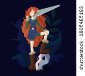 Red Haired Girl Warrior With A...
