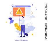 man holding triangular warning... | Shutterstock .eps vector #1805492563