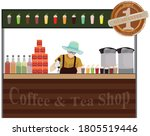 one woman making coffee at shop ... | Shutterstock .eps vector #1805519446
