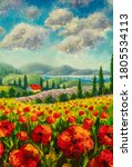 Red Poppies Painting. Italian...
