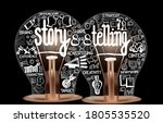 photo of light bulbs with icons ... | Shutterstock .eps vector #1805535520