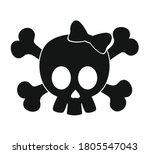 black skull with bow vector...   Shutterstock .eps vector #1805547043