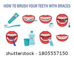 infographic how to brush your...   Shutterstock .eps vector #1805557150
