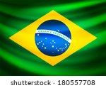 Waving fabric flag of Brazil, vector background illustration