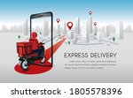 fast delivery man with... | Shutterstock .eps vector #1805578396