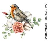 Watercolor Card With Robin...