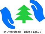 fir tree care hands vector... | Shutterstock .eps vector #1805613673