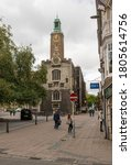Small photo of Norwich Norfolk Englnad 30th August 2020 A view of the historic Guildhall and old gaol with the famous city clock in the background on Guildhall Hill on a quiet sunday morning