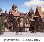 European medieval or fantasy town square architecture on a sunny day, 3d render.