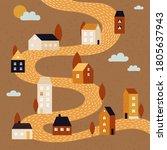 autumn landscape. fall city... | Shutterstock .eps vector #1805637943