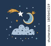 cute illustration with night... | Shutterstock .eps vector #1805641219