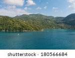 Green hills and blue water around Labadee, Haiti - stock photo