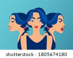 vector of young woman with mood ... | Shutterstock .eps vector #1805674180