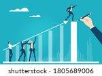 business team holding arrow in... | Shutterstock .eps vector #1805689006