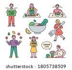 various vegetarian life. flat... | Shutterstock .eps vector #1805738509