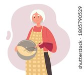 Cute Old Woman Cooks With...