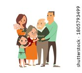 happy family hugging each other.... | Shutterstock .eps vector #1805793499