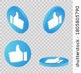 thumb up symbol. flat isometric ...
