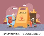 tiny male and female characters ... | Shutterstock .eps vector #1805808010