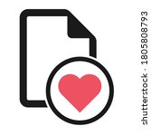 file flat icon with red heart...