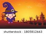 happy halloween  cute little... | Shutterstock .eps vector #1805812663