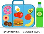 lunch box with school lunch.... | Shutterstock .eps vector #1805854693
