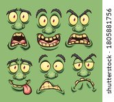 cartoon green monster faces... | Shutterstock .eps vector #1805881756