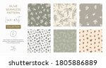 seamless patterns with olive... | Shutterstock .eps vector #1805886889