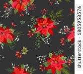 poinsettia christmas seamless... | Shutterstock .eps vector #1805953576