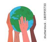 Earth Globe In Hands. Vector...