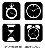 vector white clocks icons in...