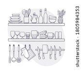 kitchen supplies on shelves.... | Shutterstock .eps vector #1805984353