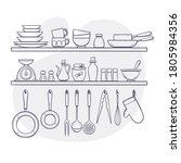 kitchen supplies on shelves.... | Shutterstock .eps vector #1805984356
