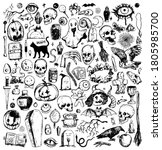 big halloween doodles... | Shutterstock .eps vector #1805985700