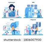 Radiologist concept set. Doctor examing X-ray image of human body with computed tomography, MRI and ultrasound. Idea of health care and disease diagnosis. Isolated vector illustration in cartoon style - stock vector