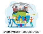 save the planet. people with...   Shutterstock .eps vector #1806010939