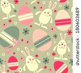 seamless pattern with easter... | Shutterstock .eps vector #180603689