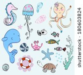 vector set of marine animals... | Shutterstock .eps vector #180603824